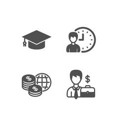 Working hours graduation cap and world money vector