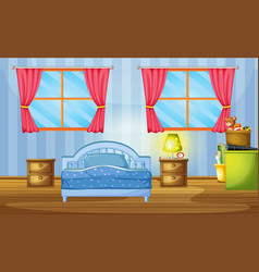 bedroom with blue bed and wallpaper vector image vector image
