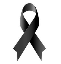 black ribbon mourning symbol isolated vector image