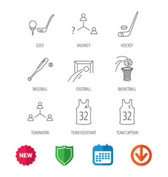 football ice hockey and baseball icons vector image