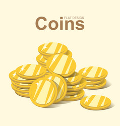 golden coin stack gold money pile flat design vector image