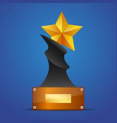 golden star award on blue vector image