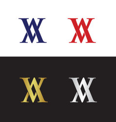 Initials with two reflected letter V vector image vector image