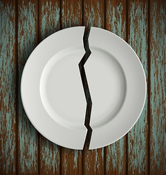 broken white plate on old wooden table vector image vector image
