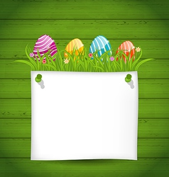 Easter colorful eggs in green grass with empty vector image vector image
