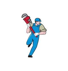 Plumber Running Monkey Wrench Cartoon vector image vector image