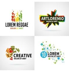 Set of modern colorful abstract logo emblem vector image