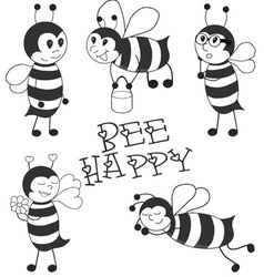 Cartoon Bees black set vector image