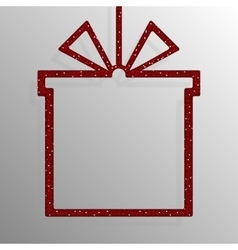 Frame Red Sequins Gift Box Gift Surprise vector image vector image