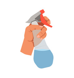 Hand holding glass cleanser spray flat vector