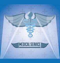 Medicine symbol with message of medical service vector