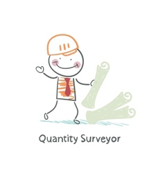 Quantity surveyor with the documents vector