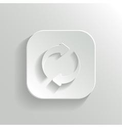 Refresh icon - white app button vector image vector image