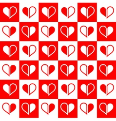 Seamless red heart halves vector image