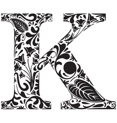 Floral K vector image vector image