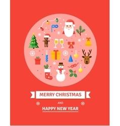 Greeting Christmas Card New Year symbols - vector image vector image