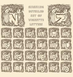 vintage marine alphabet - engraved letters in vector image
