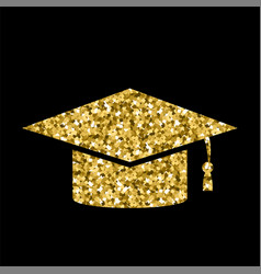 yellow glitter graduation cap icon isolated vector image