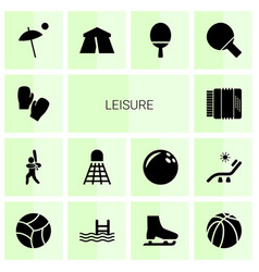 14 leisure icons vector