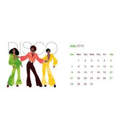 2019 dance calendar july man and two women vector