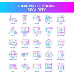 25 blue and pink futuro security icon pack vector image