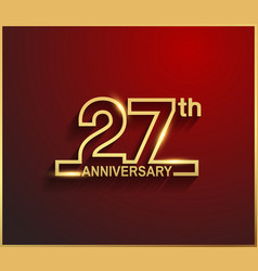 27 anniversary line style golden color vector