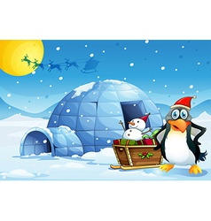 A penguin and the sleigh with a snowman near the vector image