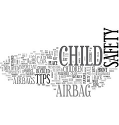 Airbag child safety text word cloud concept vector