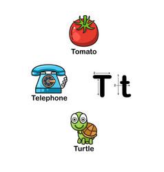 alphabet letter t-tomato telephone turtle vector image
