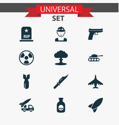 Army icons set collection of rocket weapons vector