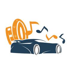 Audio car system speaker note music logo template vector