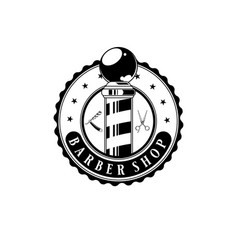 barbershop logo design vintage label on white vector image