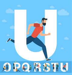 big u letter white letter with young people vector image