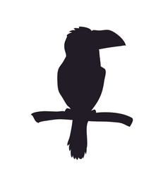 bird sitting on a branch silhouette vector image