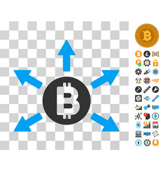 Bitcoin emission icon with bonus vector