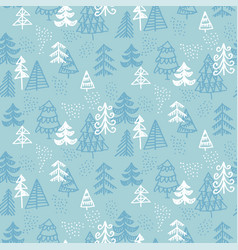 blue and white naive christmas seamless pattern vector image