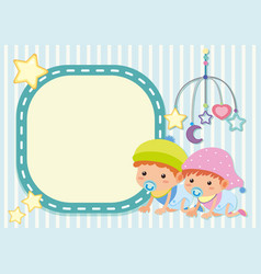 Border template with two toddlers vector