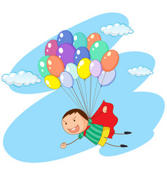 Boy flying with balloons in sky vector