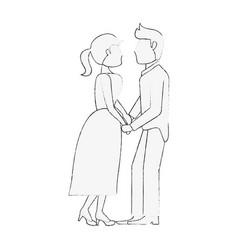 Bride and fiance cartoon vector