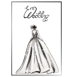Bride silhouette line art beautiful long vector