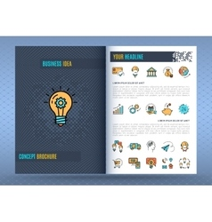 Brochure design template Business icons flat vector image vector image