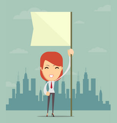 Businesswoman holding white flag place for text vector