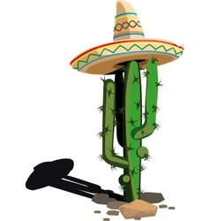 cactus in mexican hat vector image