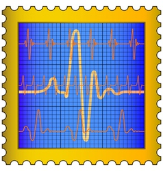 Cardiogram on stamp vector image