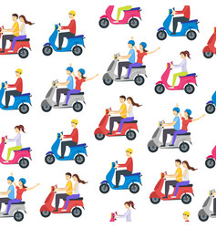 cartoon characters group people riding vector image