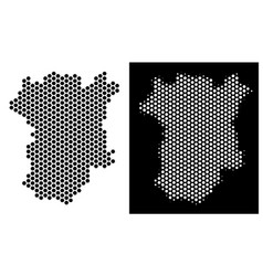 Chechnya map honeycomb scheme vector