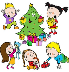 Children playing with toys and christmas tree vector