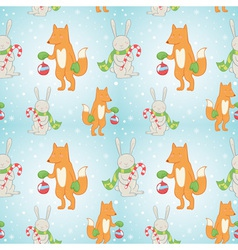 Christmas seamless pattern with bunny and fox vector image