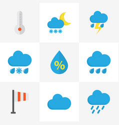 climate flat icons set collection of frosty vector image