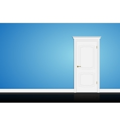 Closed white door on blue wall vector